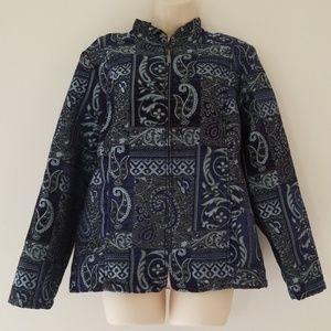 Serengeti Dress Jacket Zip Up Blazer Size Large